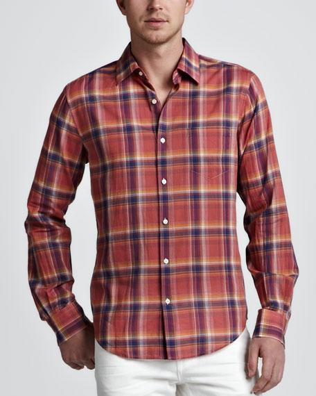 Bright Plaid Sport Shirt, Coral