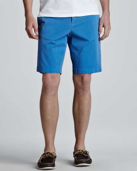 Twill Trouser Shorts, Turquoise