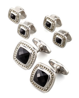 Jan Leslie Square Faceted Onyx Cuff Links & Studs Set