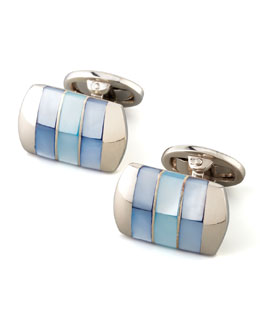 Jan Leslie Tonal Mother-of-Pearl Cuff Links, Blue