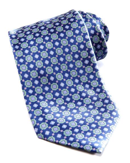 Floral-Medallion Silk Tie, Blue