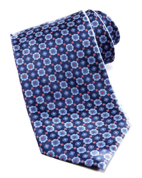 Floral-Medallion Silk Tie, Navy