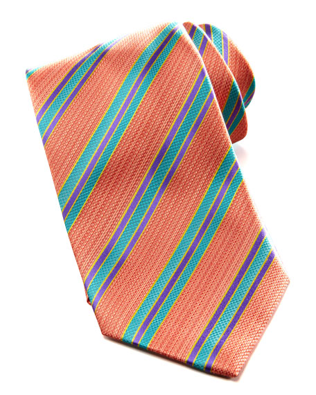 Heathered Bold-Stripe Silk Tie
