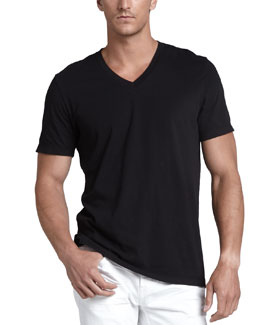 James Perse V-Neck Jersey Tee, Black