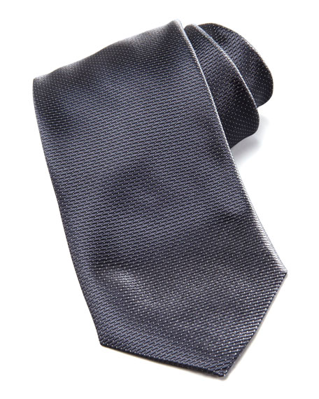 Diagonal Rope Stripe Tie, Charcoal