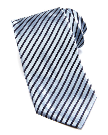 Diagonal Striped Tie, Light Blue