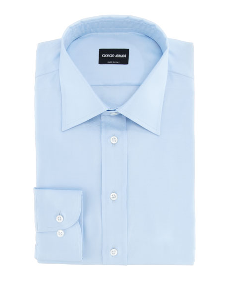 Texture Striped Cotton Dress Shirt, Light Blue