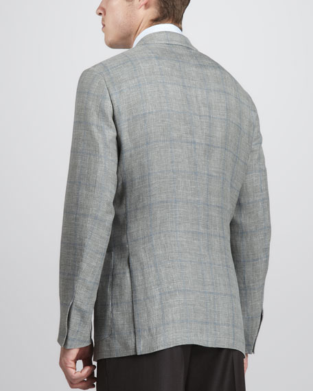 Houndstooth Plaid Contrast Pane Sport Coat, Light Green/Blue