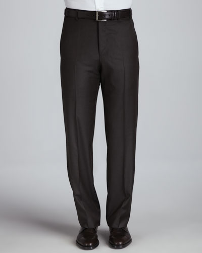 Flat-Front Pants, Brown Platinum