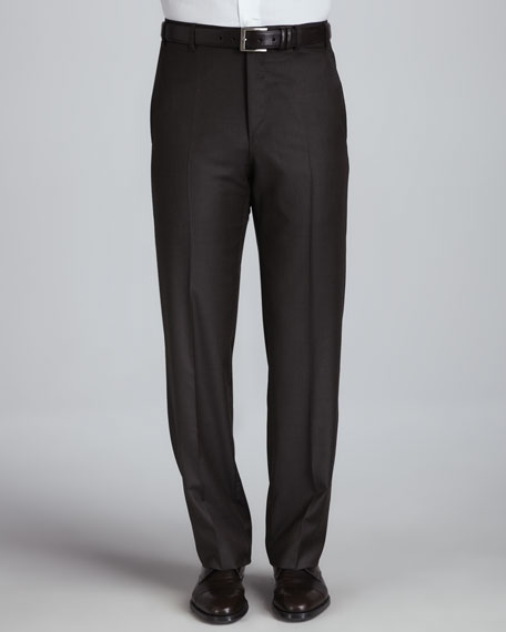 Flat-Front Pants, Brown Platinum