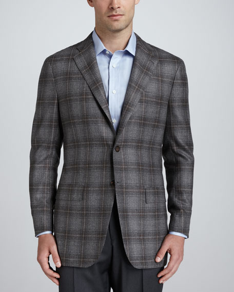 Plaid Cashmere Sport Coat, Gray/Brown