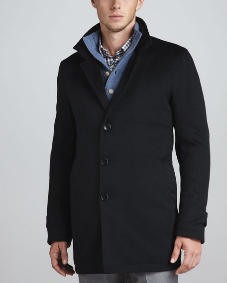 Button-Front Coat, Navy Solferino