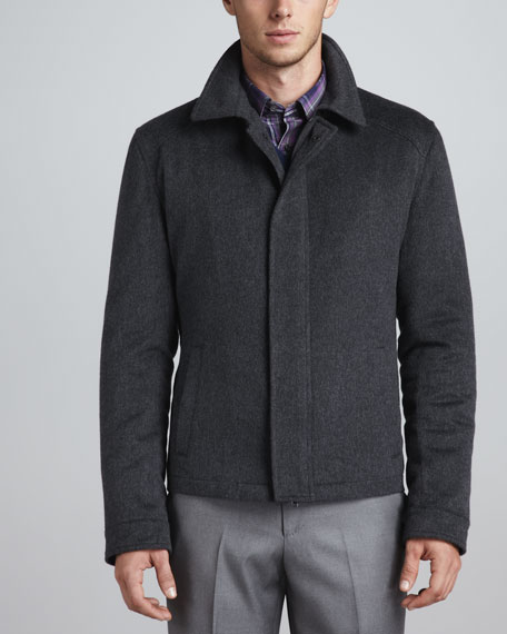 Zip-Front Cashmere Jacket, Dark Charcoal