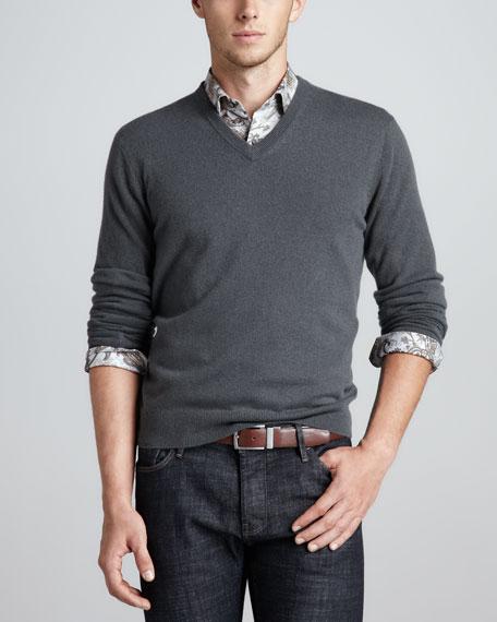 V-Neck Cashmere Pullover Sweater, Green Ash