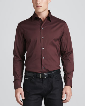 Stretch Poplin Sport Shirt, Burgundy
