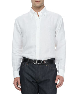 Salvatore Ferragamo Cotton Button-Collar Sport Shirt, White