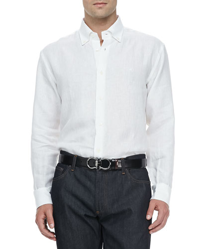 Salvatore Ferragamo Cotton Button-Collar Sport Shirt, White