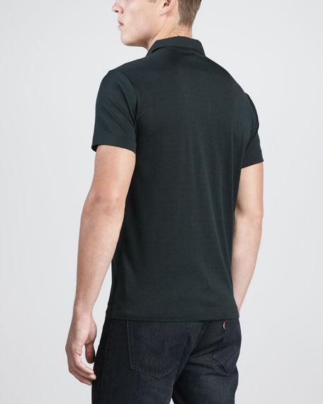 Bron Woven-Collar Cotton-Silk Polo, Deep Algae