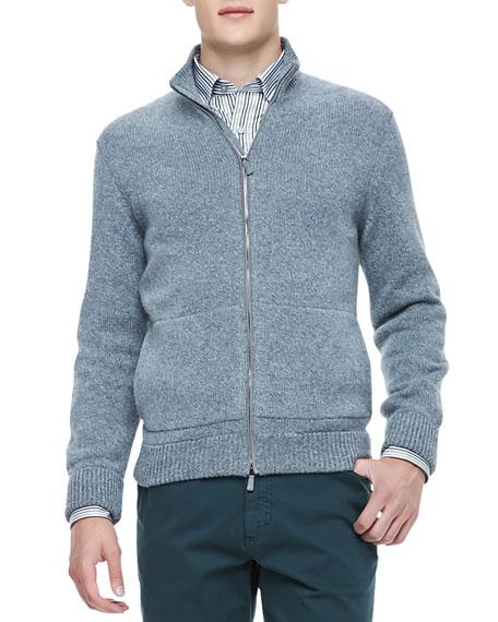 Cashmere Full-Zip Cardigan, Petrol Melange