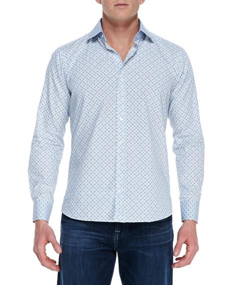 Diamond Print Contrast Collar & Cuff Shirt, White/Light & Dark Blue