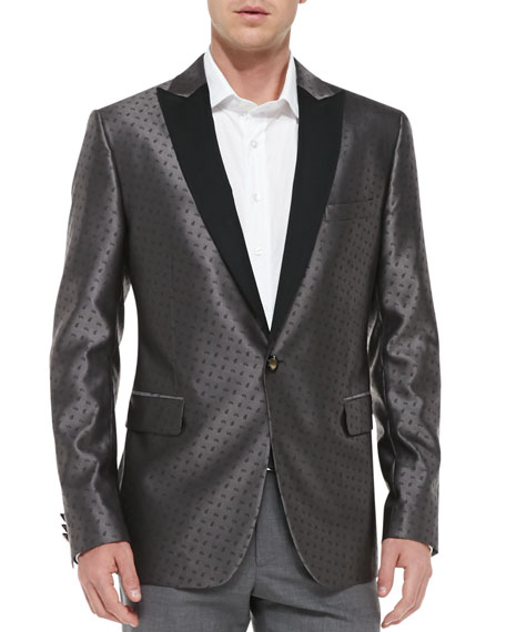 Paisley Jacquard Evening Jacket, Gray