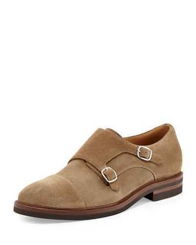Brunello Cucinelli Suede Double-Monk Shoe, Tan