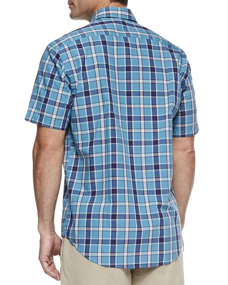 Large-Plaid Short-Sleeve Shirt, Turquoise