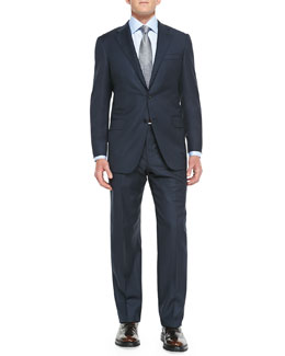 Hickey Freeman Sharkskin Two-Piece Suit, Blue