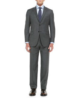 Hickey Freeman Sharkskin Two-Piece Suit, Gray