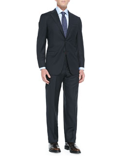 Hickey Freeman Twill Serge Two-Piece Suit, Navy