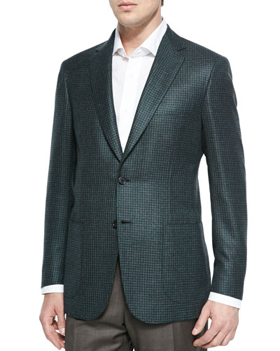 Houndstooth Two-Button Jacket, Green Check