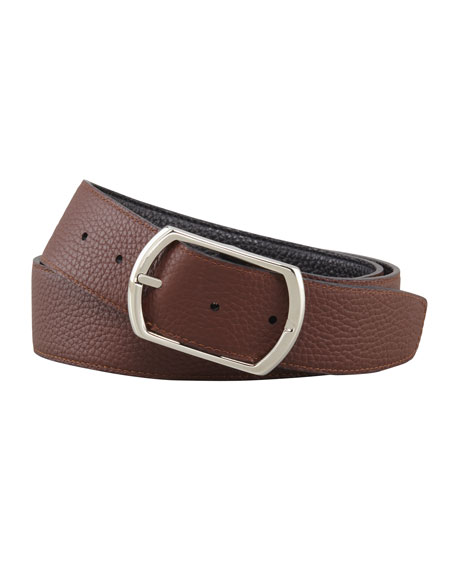 Reversible Pebbled Leather Belt, Black/Brown