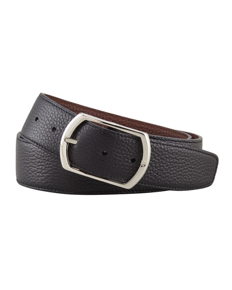 Reversible Pebbled Leather Belt, Black/Brown