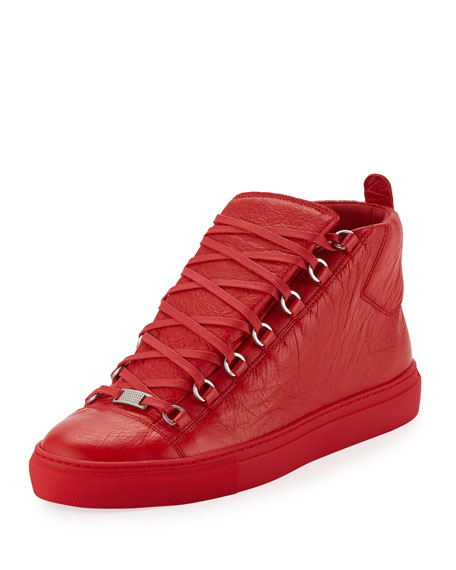 Balenciaga Men's Arena Leather High-Top Sneaker