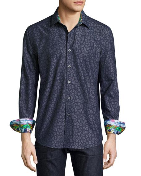Robert Graham Leopard Jacquard Sport Shirt, Indigo