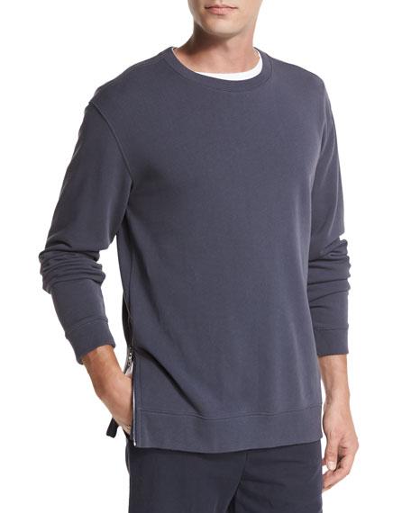 Side-Zip Crewneck Sweater