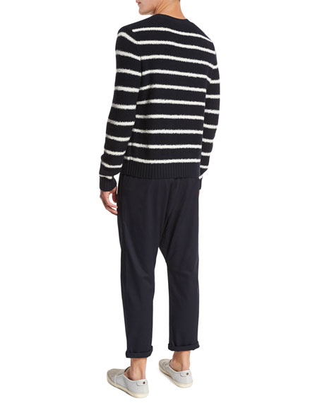 Textured Stripe Crewneck Sweater, Navy