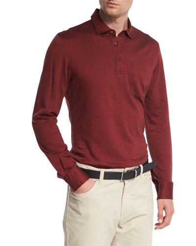 Herringbone Long-Sleeve Polo Shirt, Red