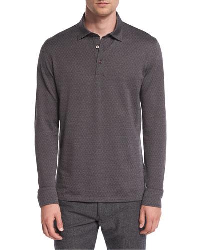 Herringbone Long-Sleeve Polo Shirt