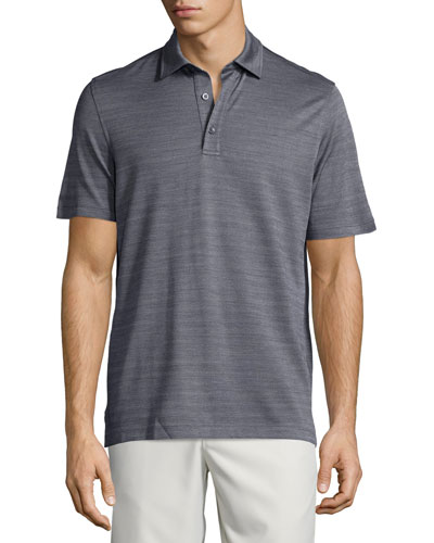 Horizontal-Herringbone Short-Sleeve Polo Shirt, Blue