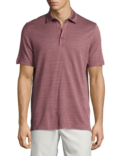 Horizontal-Herringbone Short-Sleeve Polo Shirt, Red