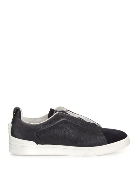 Couture Triple-Stitch Leather & Suede Low-Top Sneaker, Navy