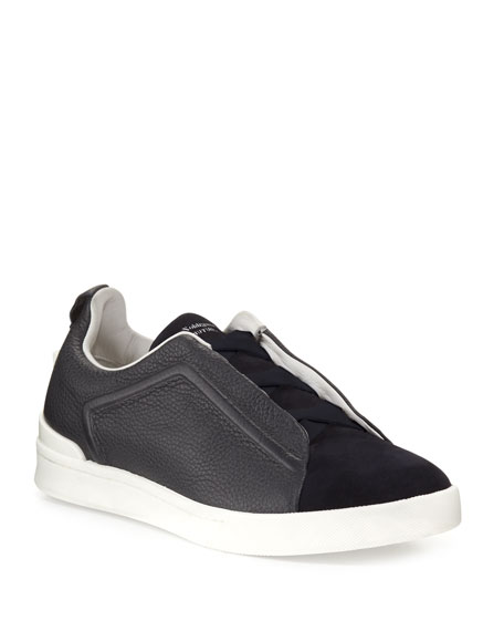 Ermenegildo Zegna Couture Triple-Stitch Leather & Suede Low-Top