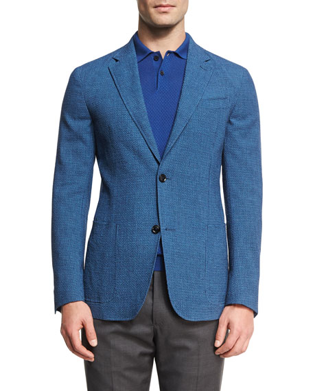 Gingham Seersucker Two-Button Blazer, Blue