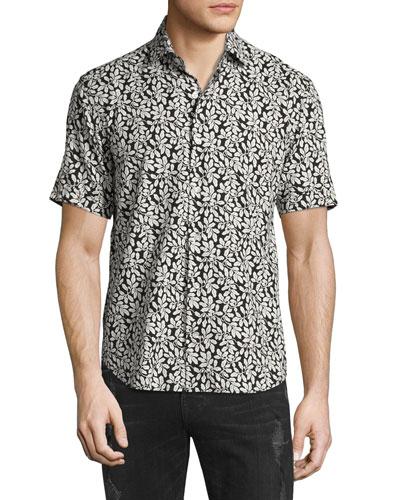 Leaf-Print Short-Sleeve Shirt, White/Black