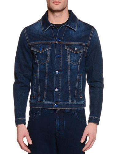 Contrast-Stitch Denim Jacket