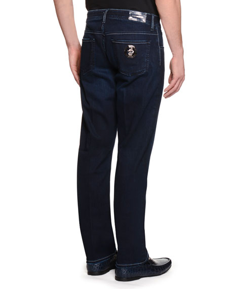 Snake-Tag Five-Pocket Slim-Fit Jeans, Denim