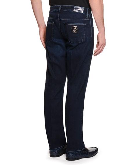 Snake-Tag Five-Pocket Slim-Fit Jeans, Denim