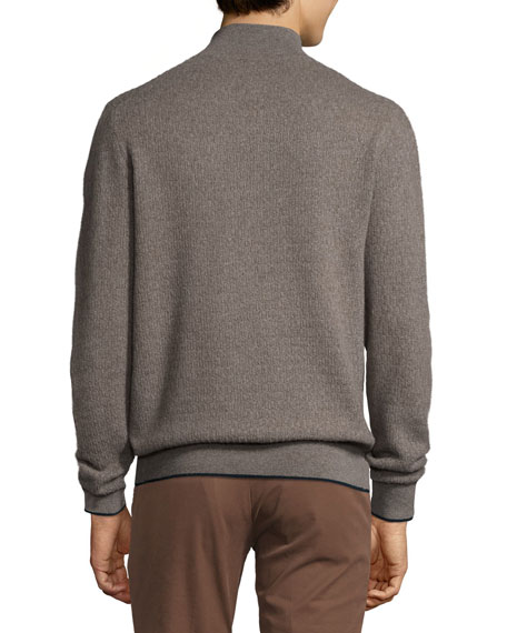 Cashmere Half-Zip Sweater, Gray