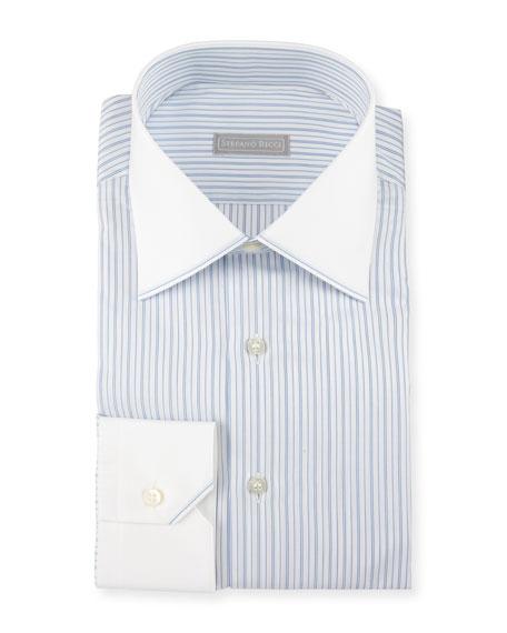 Contrast Collar/Cuff Striped Dress Shirt